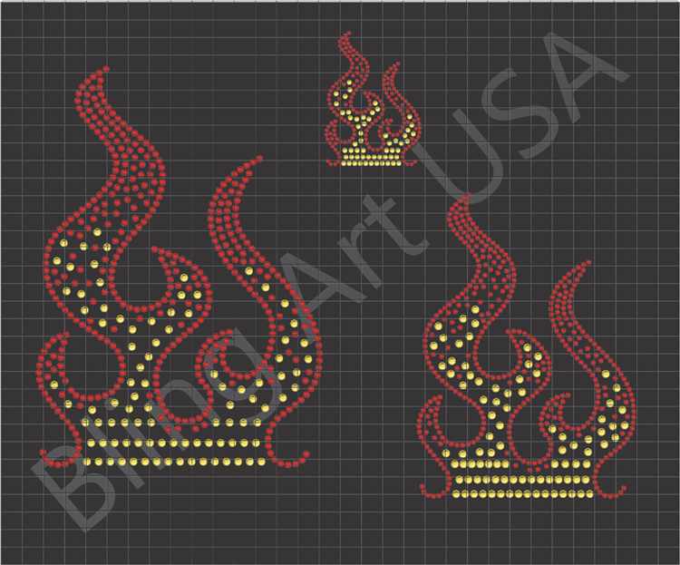 Flames Rhinestone Designs Gemmaster The Cut Fire Design